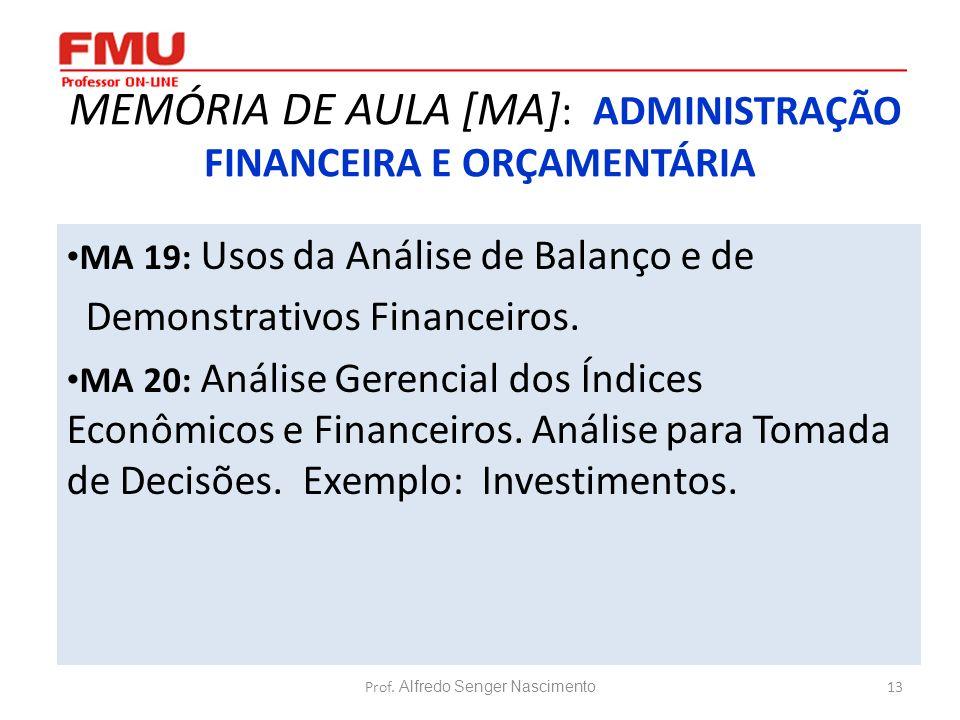 MEMÓRIA DE AULA [MA]: ADMINISTRAÇÃO FINANCEIRA E ORÇAMENTÁRIA